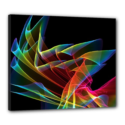 Dancing Northern Lights, Abstract Summer Sky  Canvas 24  x 20  (Framed)