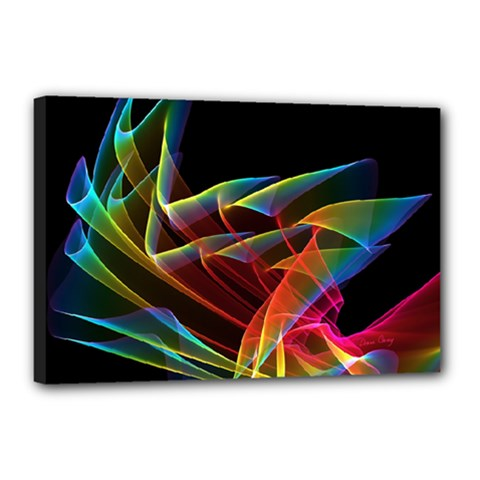 Dancing Northern Lights, Abstract Summer Sky  Canvas 18  x 12  (Framed)