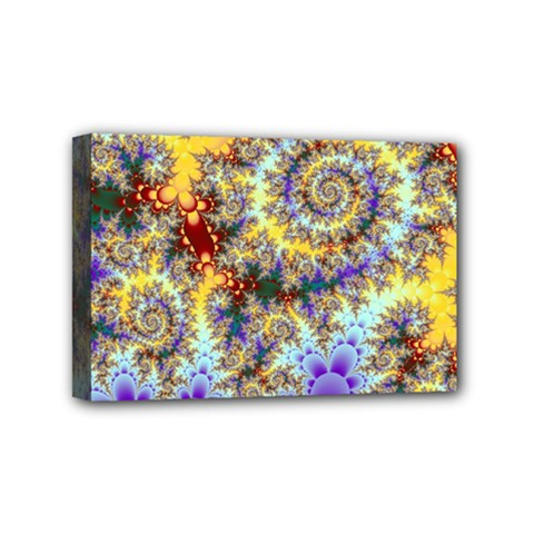 Desert Winds, Abstract Gold Purple Cactus  Mini Canvas 6  x 4  (Framed)