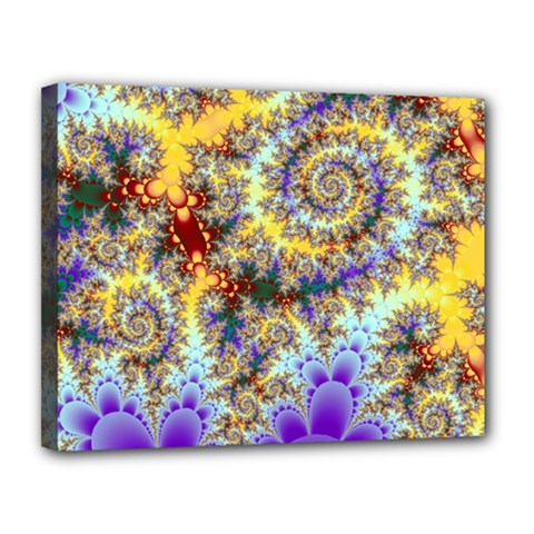 Desert Winds, Abstract Gold Purple Cactus  Canvas 14  X 11  (framed)