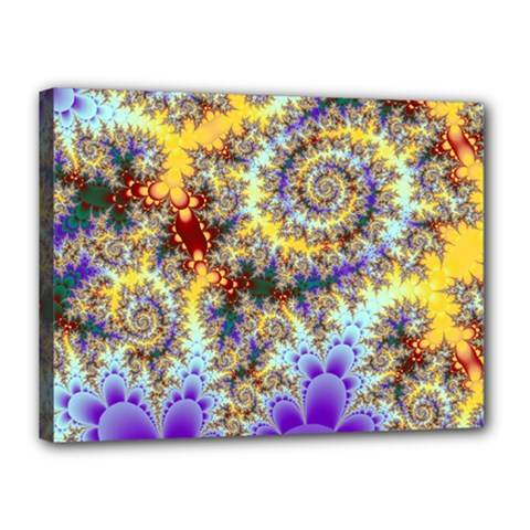 Desert Winds, Abstract Gold Purple Cactus  Canvas 16  x 12  (Framed)