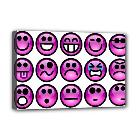 Chronic Pain Emoticons Deluxe Canvas 18  x 12  (Framed)