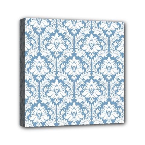 White On Light Blue Damask Mini Canvas 6  x 6  (Framed)