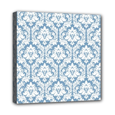 White On Light Blue Damask Mini Canvas 8  X 8  (framed)