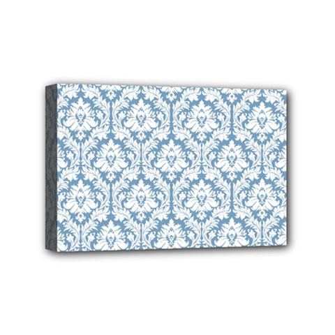White On Light Blue Damask Mini Canvas 6  x 4  (Framed)