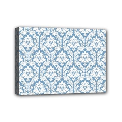 White On Light Blue Damask Mini Canvas 7  x 5  (Framed)