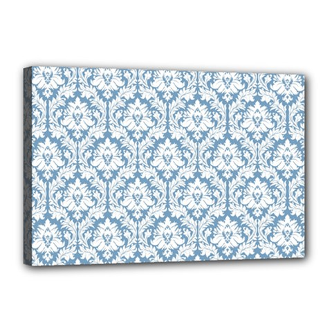 White On Light Blue Damask Canvas 18  x 12  (Framed)