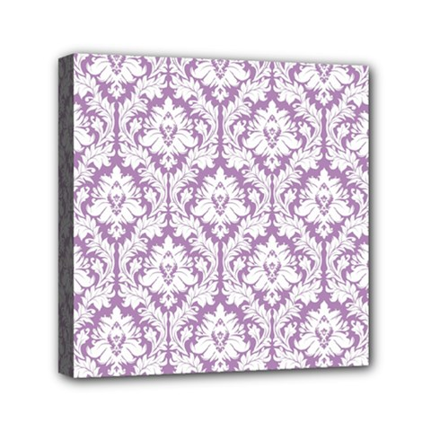 White On Lilac Damask Mini Canvas 6  x 6  (Framed)