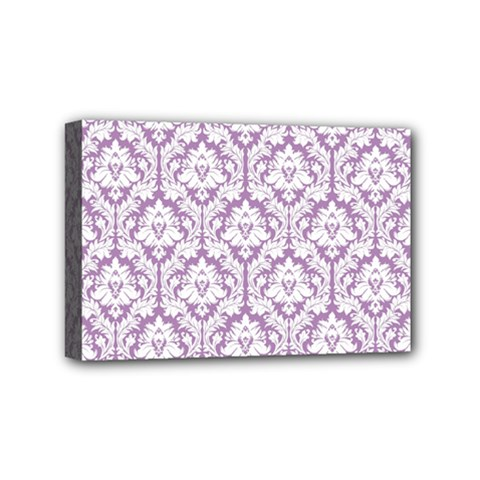 White On Lilac Damask Mini Canvas 6  x 4  (Framed)