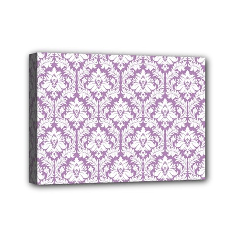 White On Lilac Damask Mini Canvas 7  X 5  (framed)