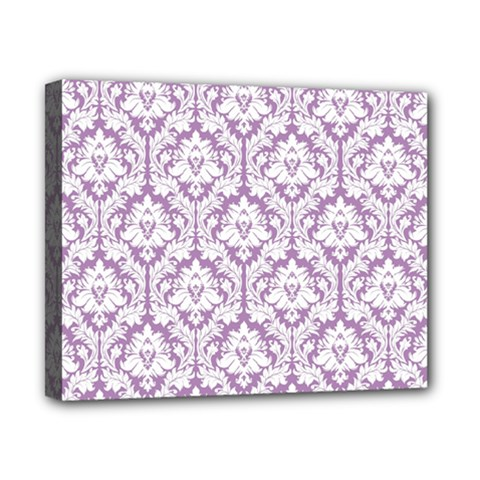 White On Lilac Damask Canvas 10  x 8  (Framed)