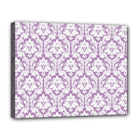 White On Lilac Damask Canvas 14  x 11  (Framed)