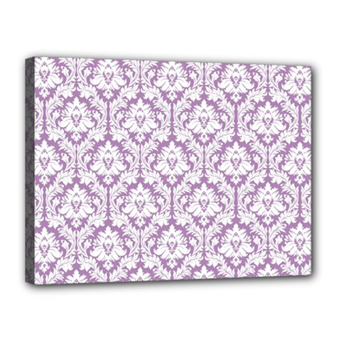 White On Lilac Damask Canvas 16  x 12  (Framed)