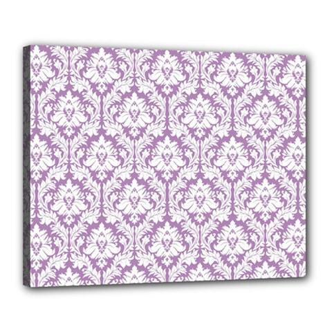 White On Lilac Damask Canvas 20  x 16  (Framed)