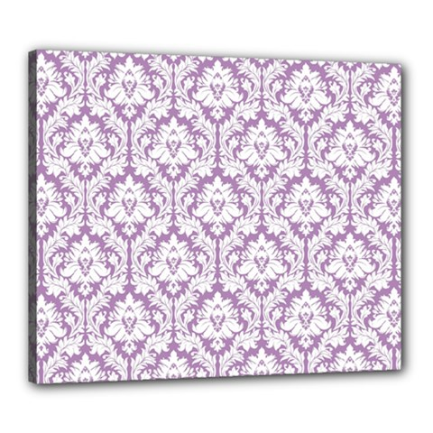 White On Lilac Damask Canvas 24  X 20  (framed)