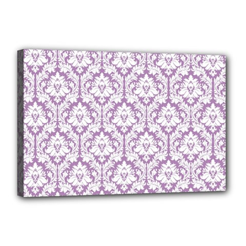 White On Lilac Damask Canvas 18  x 12  (Framed)