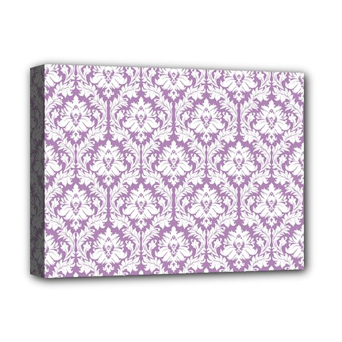White On Lilac Damask Deluxe Canvas 16  x 12  (Framed)