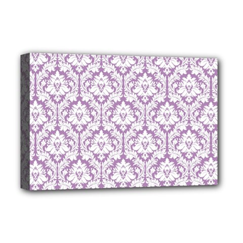 White On Lilac Damask Deluxe Canvas 18  x 12  (Framed)