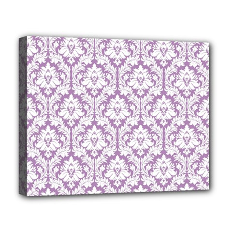 White On Lilac Damask Deluxe Canvas 20  x 16  (Framed)