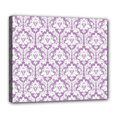 White On Lilac Damask Deluxe Canvas 24  X 20  (framed)
