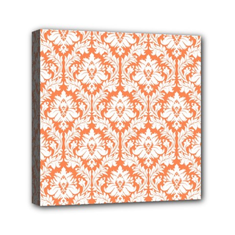 White On Orange Damask Mini Canvas 6  x 6  (Framed)