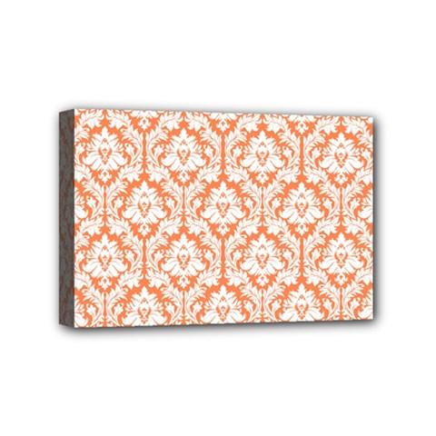 White On Orange Damask Mini Canvas 6  X 4  (framed)
