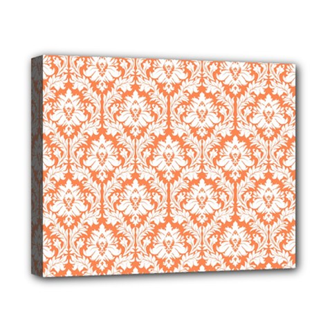 White On Orange Damask Canvas 10  X 8  (framed)