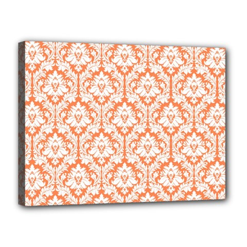 White On Orange Damask Canvas 16  x 12  (Framed)