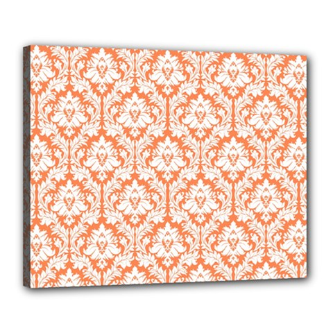 White On Orange Damask Canvas 20  x 16  (Framed)