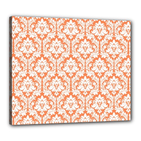 White On Orange Damask Canvas 24  x 20  (Framed)