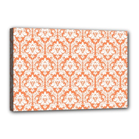 White On Orange Damask Canvas 18  x 12  (Framed)