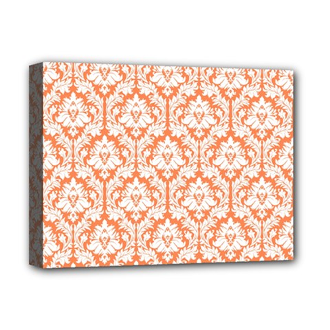 White On Orange Damask Deluxe Canvas 16  x 12  (Framed)
