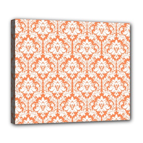 White On Orange Damask Deluxe Canvas 24  x 20  (Framed)