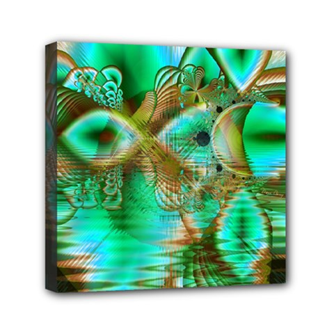 Spring Leaves, Abstract Crystal Flower Garden Mini Canvas 6  X 6  (framed)