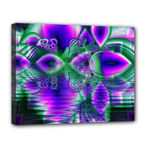 Evening Crystal Primrose, Abstract Night Flowers Canvas 14  X 11  (framed)
