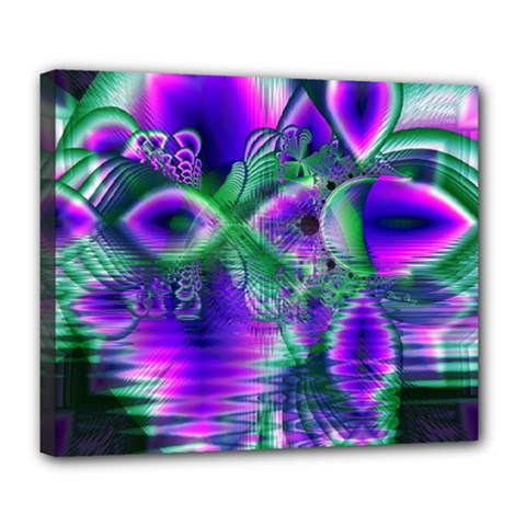 Evening Crystal Primrose, Abstract Night Flowers Deluxe Canvas 24  x 20  (Framed)