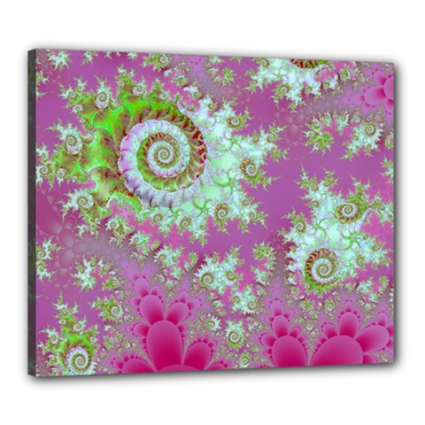 Raspberry Lime Surprise, Abstract Sea Garden  Canvas 24  x 20  (Framed)