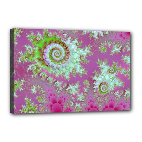 Raspberry Lime Surprise, Abstract Sea Garden  Canvas 18  x 12  (Framed)