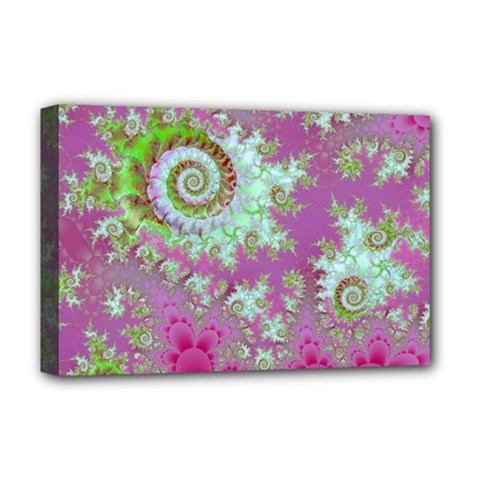 Raspberry Lime Surprise, Abstract Sea Garden  Deluxe Canvas 18  x 12  (Framed)