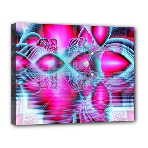 Ruby Red Crystal Palace, Abstract Jewels Canvas 14  X 11  (framed)