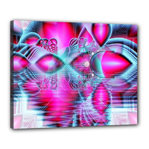 Ruby Red Crystal Palace, Abstract Jewels Canvas 20  x 16  (Framed)