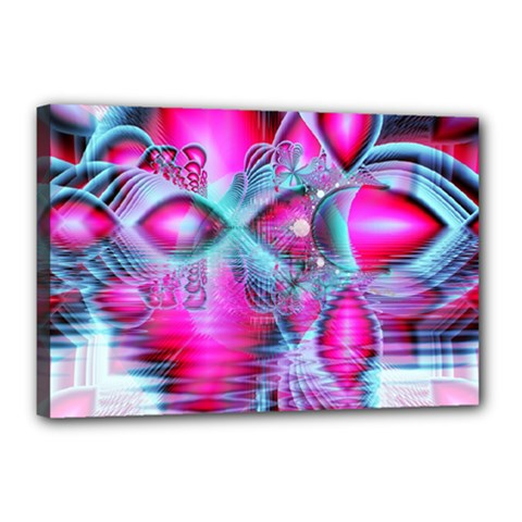 Ruby Red Crystal Palace, Abstract Jewels Canvas 18  X 12  (framed)