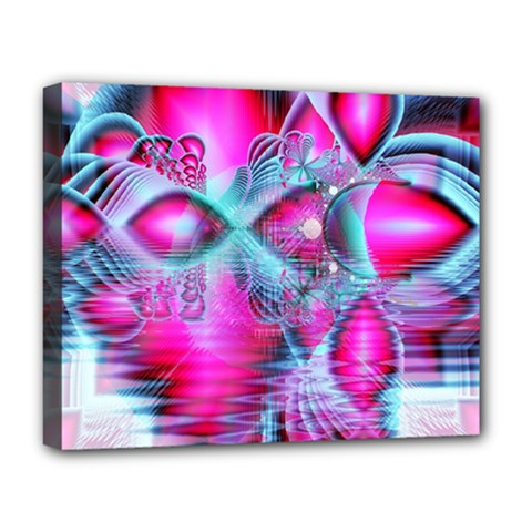 Ruby Red Crystal Palace, Abstract Jewels Deluxe Canvas 20  x 16  (Framed)
