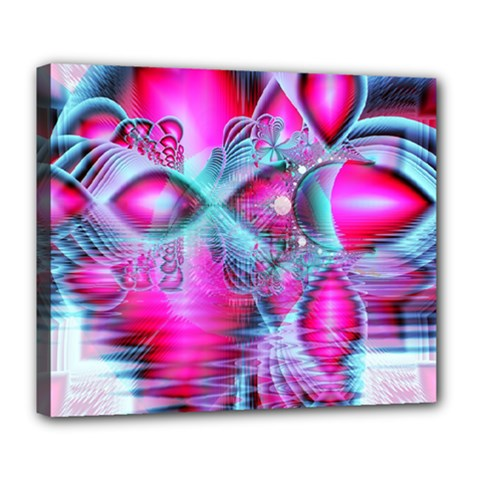 Ruby Red Crystal Palace, Abstract Jewels Deluxe Canvas 24  x 20  (Framed)