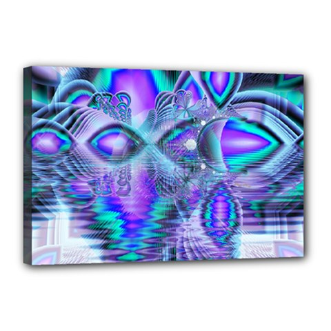 Peacock Crystal Palace Of Dreams, Abstract Canvas 18  x 12  (Framed)