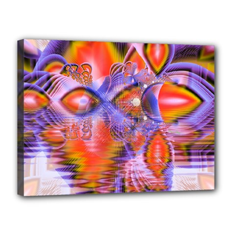Crystal Star Dance, Abstract Purple Orange Canvas 16  x 12  (Framed)