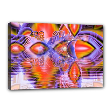 Crystal Star Dance, Abstract Purple Orange Canvas 18  x 12  (Framed)