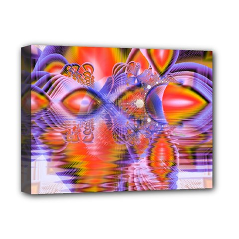 Crystal Star Dance, Abstract Purple Orange Deluxe Canvas 16  x 12  (Framed)