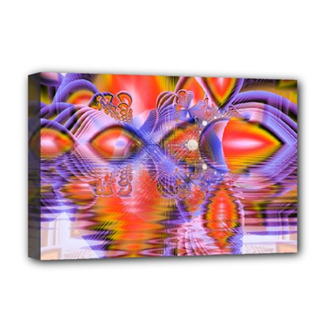 Crystal Star Dance, Abstract Purple Orange Deluxe Canvas 18  x 12  (Framed)
