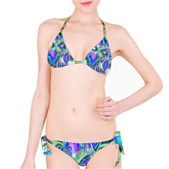 Abstract Peacock Celebration, Golden Violet Teal Bikini